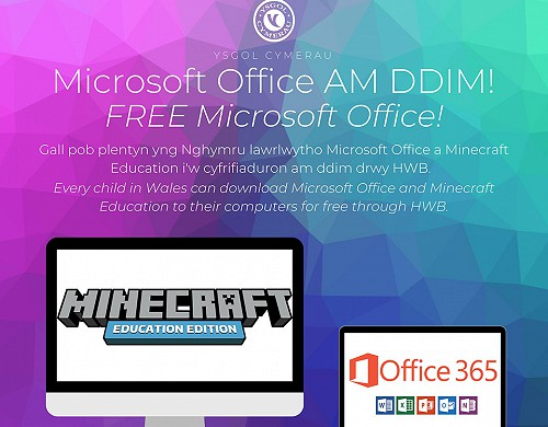 Microsoft Office a Minecraft am ddim
